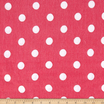 Jersey Knit White Dots on Pink