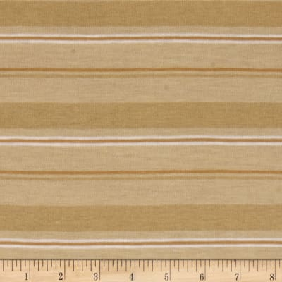 Jersey Knit Whtie/Brown Stripes on Almond