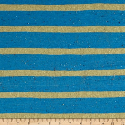Sweater Knit Cerulean Blue/Yellow Stripes