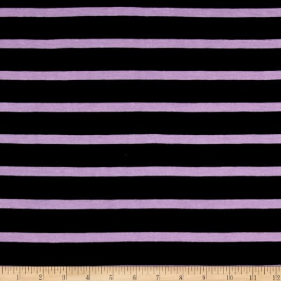 Jersey Knit Lavender Stripe on Black