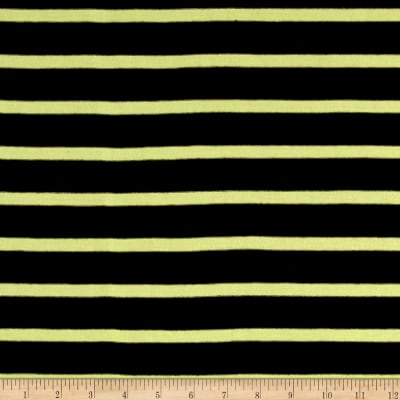 Jersey Knit Lemon Stripes on Black