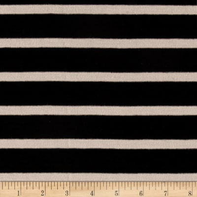 Jersey Knit Small Beige Stripe on Black