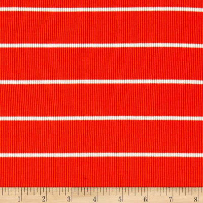 Rib 2x1 Knit Mini White Stripe on Orange