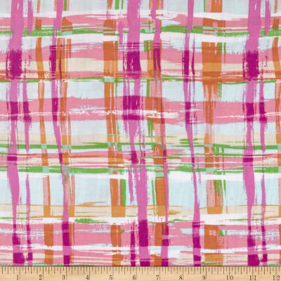 Rayon Challis Abstract Plaid Pink/Ivory/Magenta