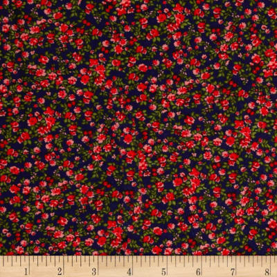 Rayon Challis Pink/Red Mini Florals on Navy