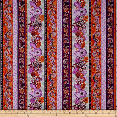 Cassandra Floral Stripe Purple