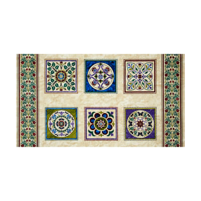 "Windsor Woods Block 24"" Panel Cream/Green"