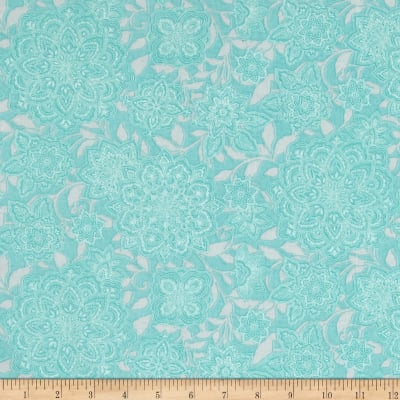Piccadilly Large Floral Teal/White