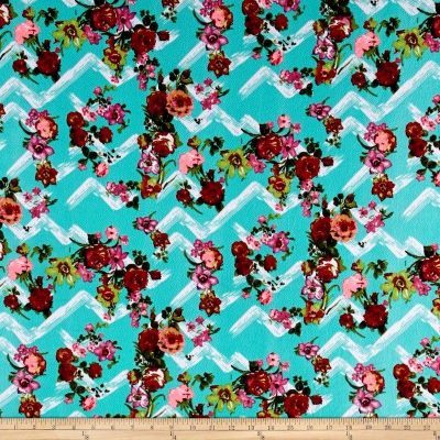 Liverpool Brushstroke Floral Turquoise