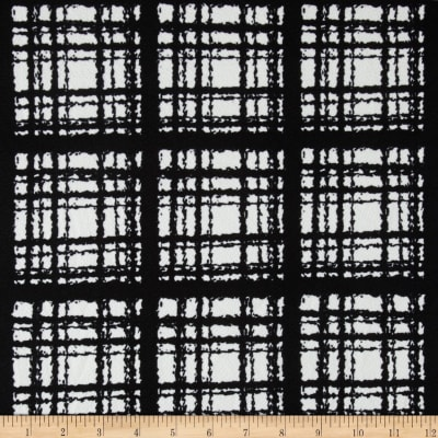 Liverpool Double Knit Textured Plaid Black