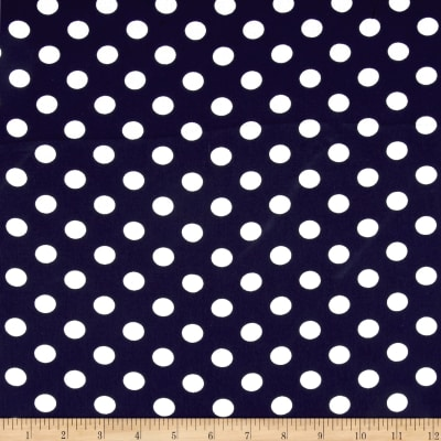 Textured Crepe Ivory Navy Dot