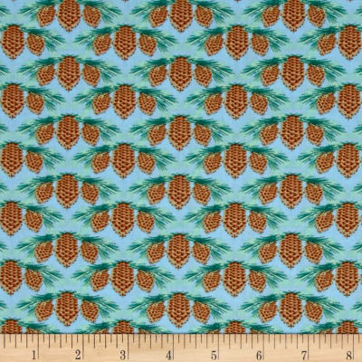Maine State Flower Pine Cone & Tassel Blue/Green/Brown