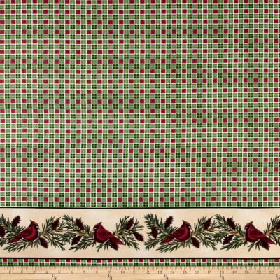 Backyard Birds Flannel Border Print Green/Red