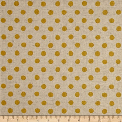 Kaufman Sevenberry Canvas Natural Dots Large Yellow