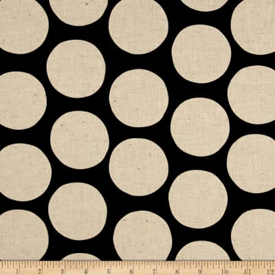 Kaufman Sevenberry Canvas Cotton Flax Prints Dots Jet