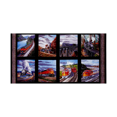 "Redwood Express Train Blocks 23"" Panel Black"