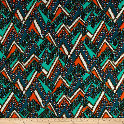 ITY Stretch Jersey Knit Bohemian Abstract Mint