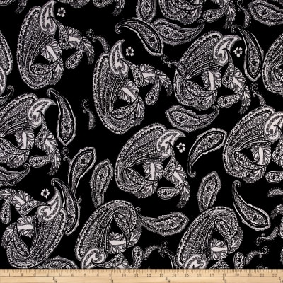 ITY Stretch Jersey Knit Resortwear Paisley Black