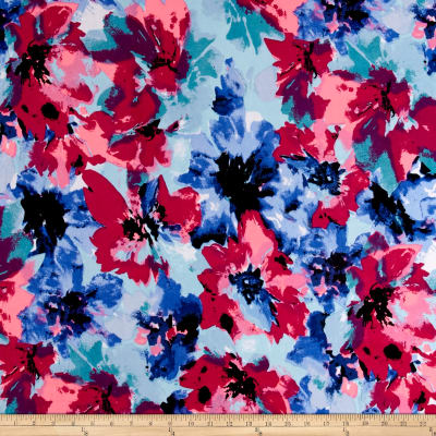 Stretch ITY Jersey Knit Brushstrokes Floral Blue