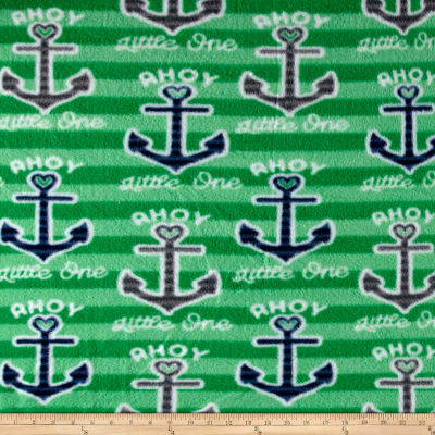 Fleece Print Ahoy Stripes and Anchors Green