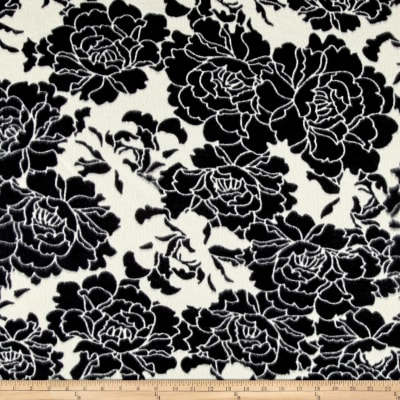 Fleece Print Sophisticated Florals Black