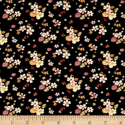 Corduroy Yellow Flowers Black