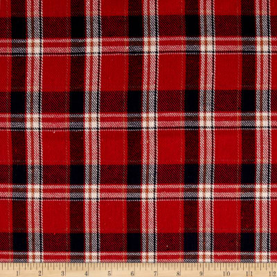 Yarn Dyed Flannel Plaid Red/White/Navy