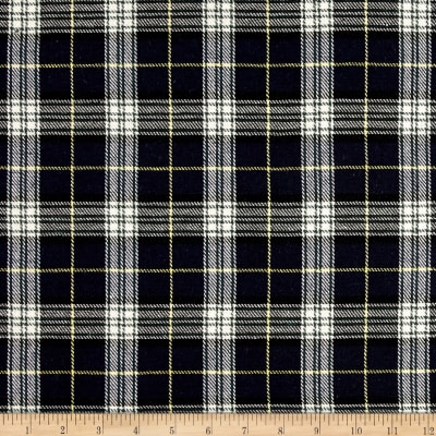 Yarn Dyed Plaid Flannel Navy/White