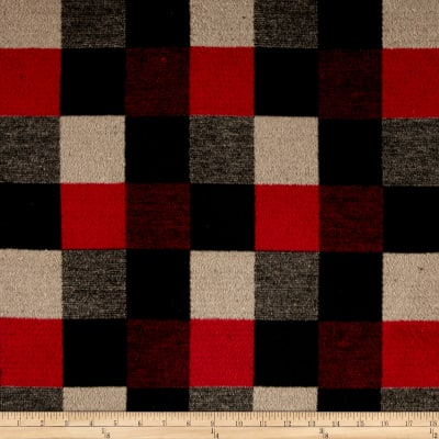 Brushed Wool Blend Check Red/Black/Tan