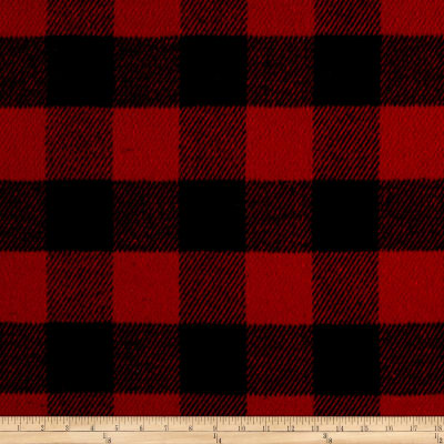 Brushed Wool Blend Coating Buffalo Check Red