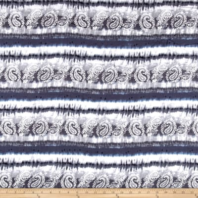 Rayon Challis Moon Beams Tie Dye Charcoal