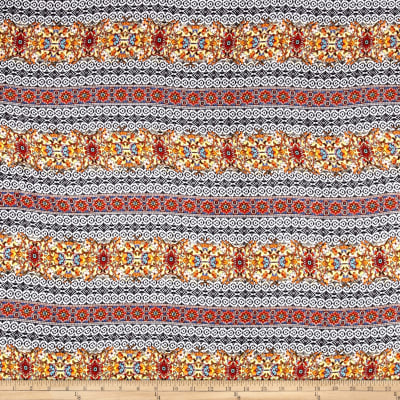 Rayon Challis Aztec Orange