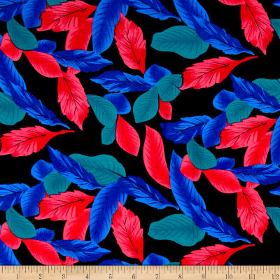 Rayon Challis Dreamer Tropical Leaf Red/Blue