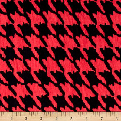 Fashion Jersey Knit Houndstooth Coral/Black