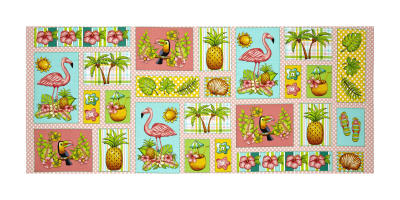 "Pink Lady Flamingo Patch 18"" Panel Pink"