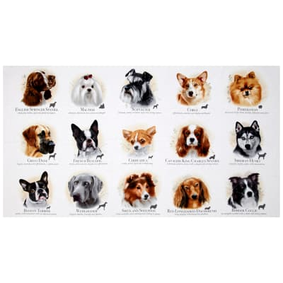 "Dog Breeds 23.5"" Panel Cream"