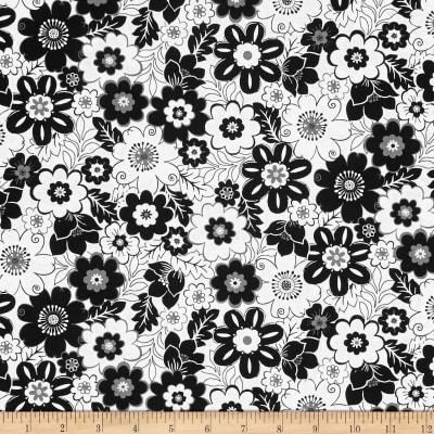 Fade to Black Big Flowers White
