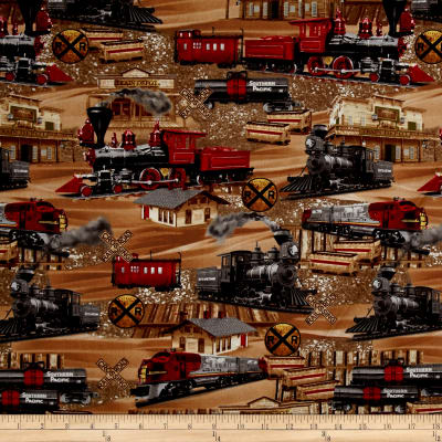 Timeless treasures trains brown discount designer fabric for Train print fabric