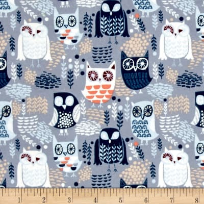 Dear Stella Nocturnal Dreams Flannel Night Owls Grey