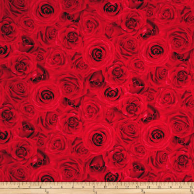 Timeless Treasures Glamour Packed Roses Red