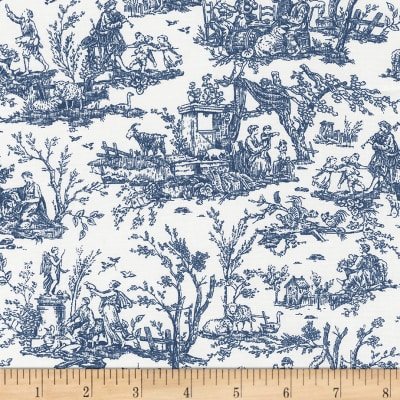 Timeless Treasures True Blue Scenic Toile White