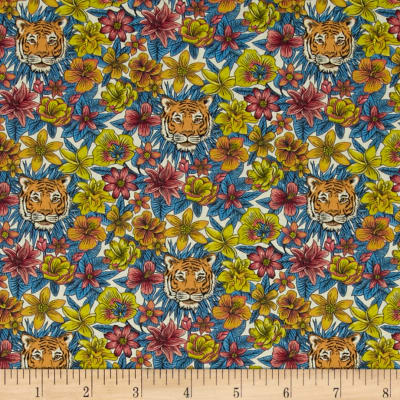 Liberty Fabrics Scotty's Tiger Lawn Blue/Coral