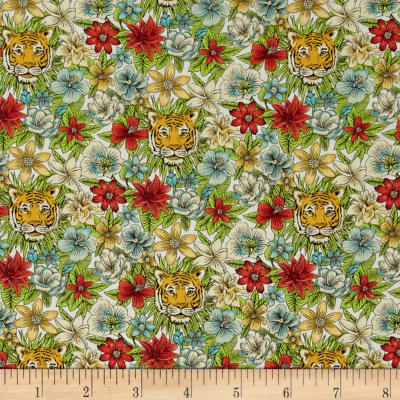 Liberty Fabrics Scotty's Tiger Lawn Green/Coral