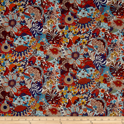Liberty Fabrics Elodie Bea Lawn Cream/Rust/Blue