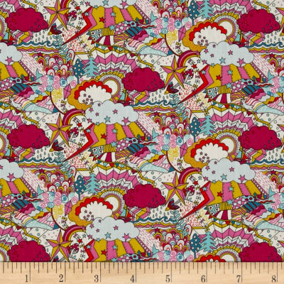 Liberty Fabrics Land of Dreams Lawn Cream/Hot Pink