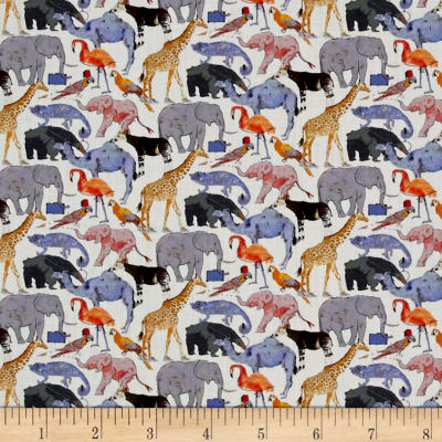 Liberty Fabrics Queue For The Zoo Lawn White/Purple/Multi