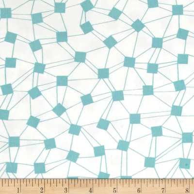 Avalana Jersey Knit Squares With Connecting Lines Geo White