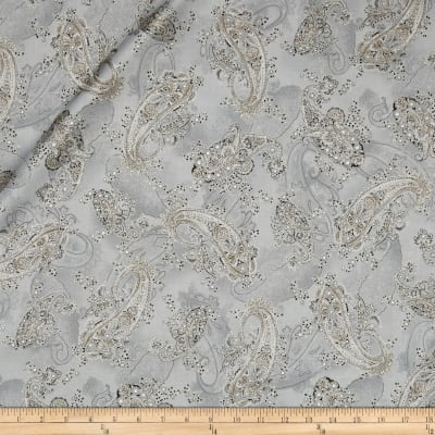 Kaufman La Scala 7 Metallic Large Paisley Platinum