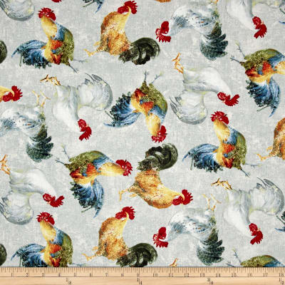 Early to Rise Roosters Allover Grey