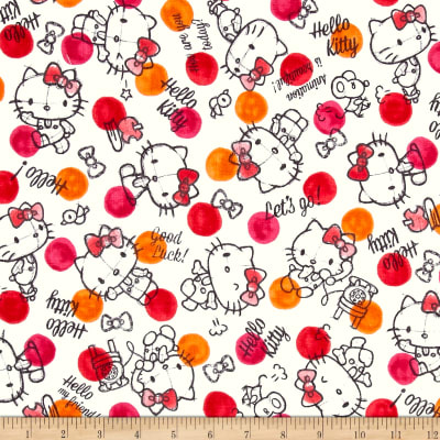 Kokka Sanrio Hello Kitty Rough Sketch Double Gauze Orange